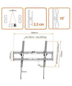Support  TV inclinable 140 à 178 cm